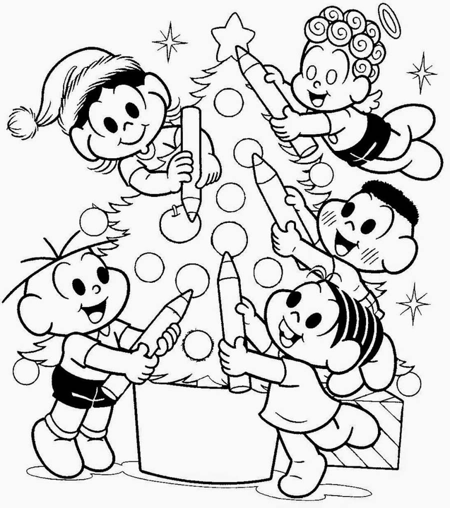 Colorir Arvore De Natal Turma Da Monica Desenho Para Colorir