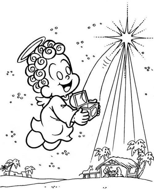 Desenho Anjinho Na Noite De Natal Desenho Para Colorir