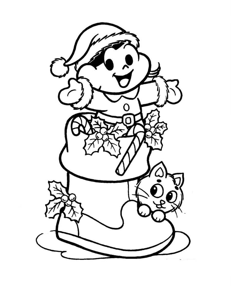 Desenho Bota De Natal Turma Da Monica Desenho Para Colorir