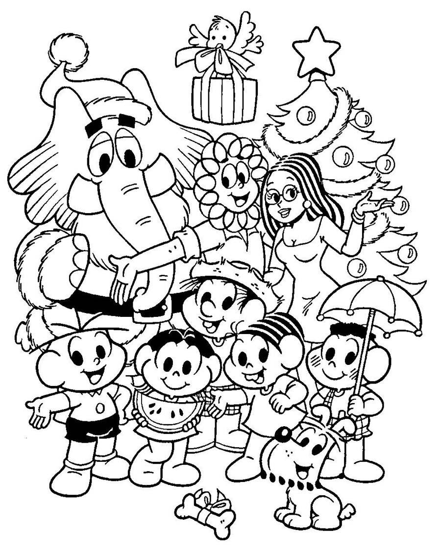 Desenho Natal Da Turma Da Monica Desenho Para Colorir