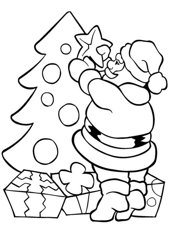 Desenho Papai Noel Estrela Na árvore Desenho Para Colorir