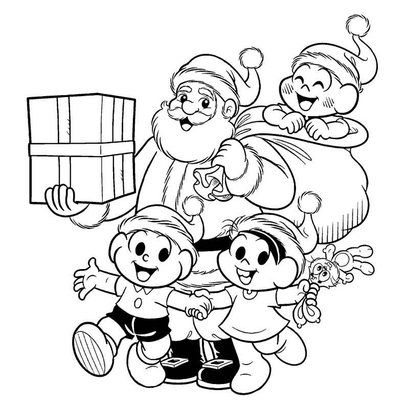 Desenho Papai Noel Com Turma Da Monica Desenho Para Colorir