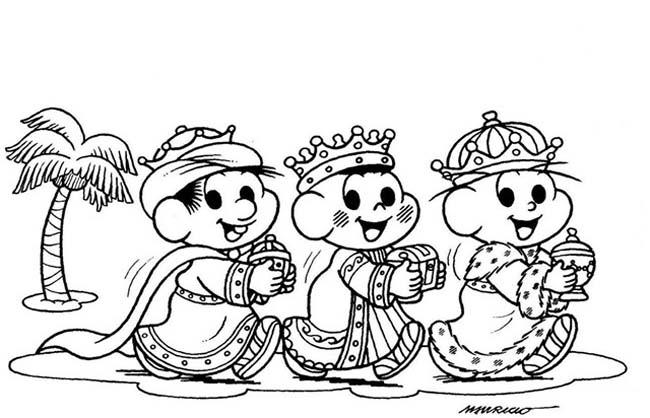 Desenho Tres Reis Magos Turma Da Monica Desenho Para Colorir