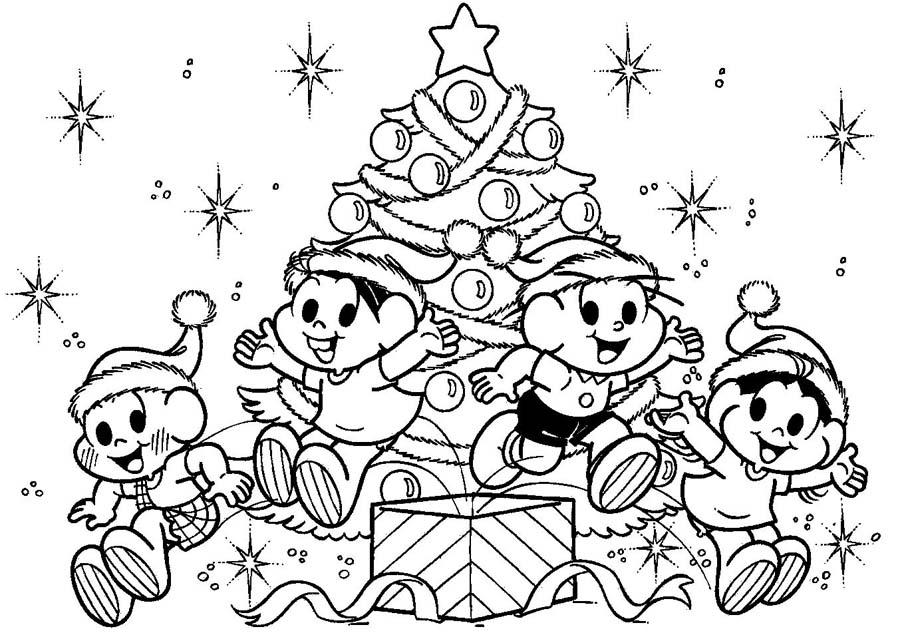 Desenho para Colorir Natal da Turma da Mônica