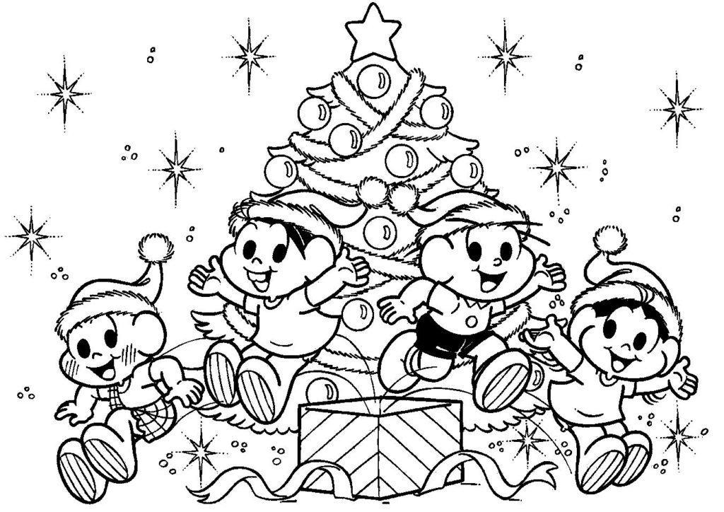Desenho Colorir Natal Turma da Mônica
